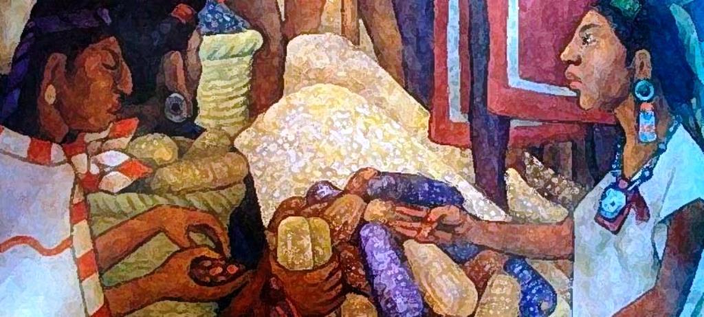 Pintura que recrea el comercio agrícola primario.