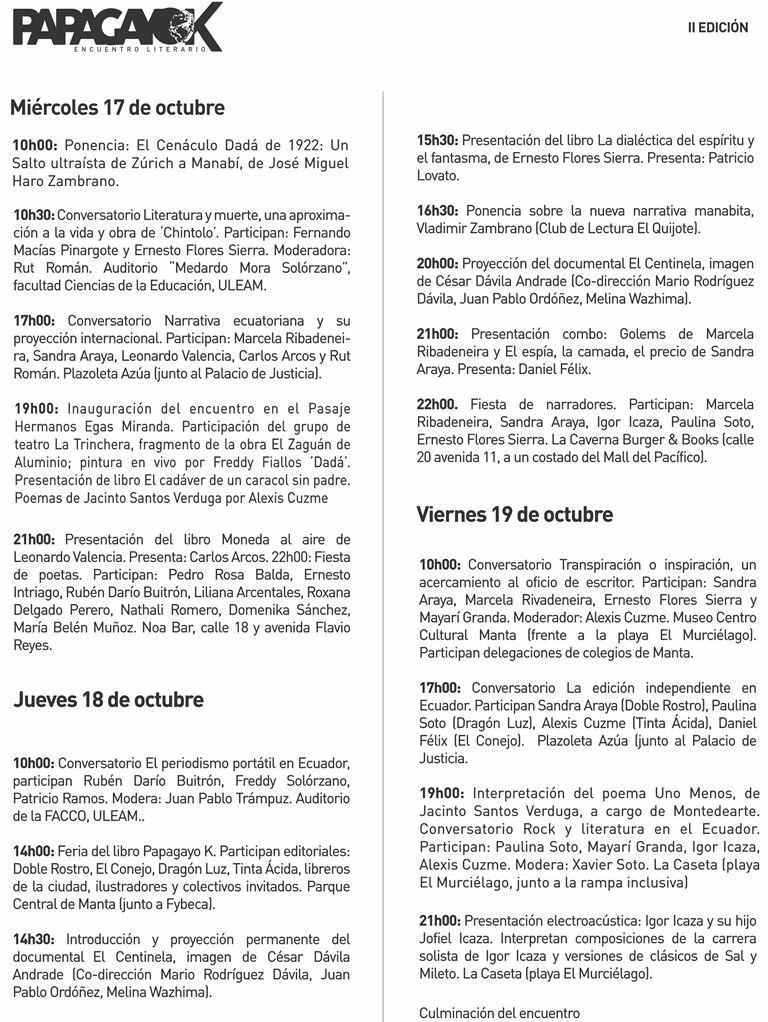 Agenda II Encuentro Literario Papagayo K