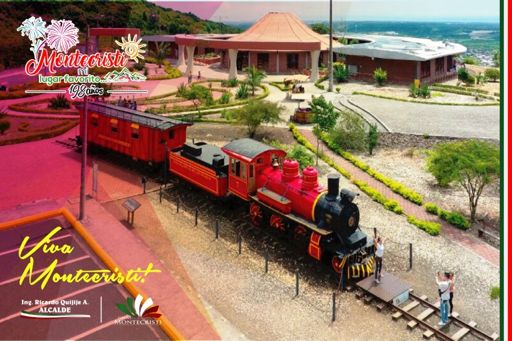 Vista parcial del Centro Cívico Ciudad Alfaro, Montecristi, mostrada como una postal municipal. Manabí, Ecuador.