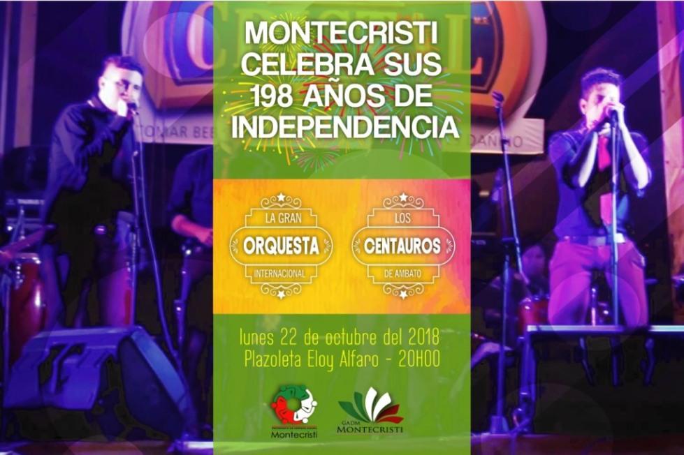 Anuncio del baile público por los 198 años de la independencia política de Montecristi. Manabí, Ecuador.