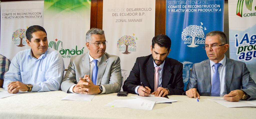 Suscripción de convenio de asignación de recursos monetarios para rehabilitar el Sistema de Riego Carrizal-Chone. Manabí, Ecuador.