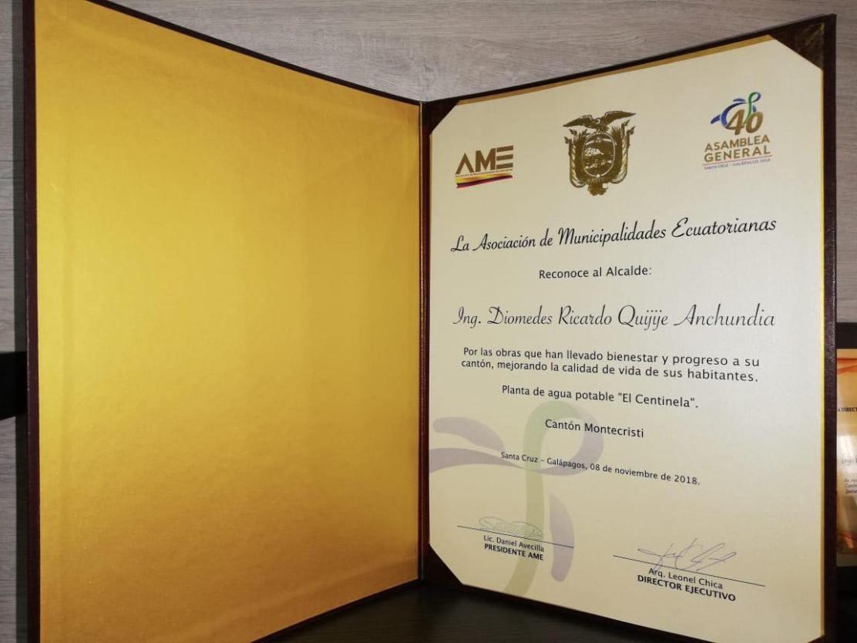Reconocimiento de AME a la gestión del alcalde de Montecristi. Manabí, Ecuador.