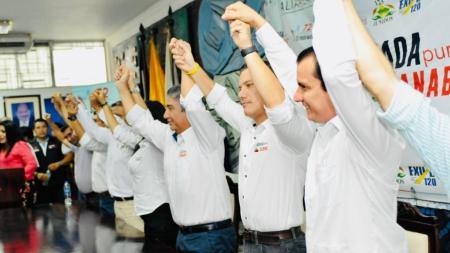 Líderes políticos aliados para las elecciones seccionales de marzo 24 2019. Manabí, Ecuador.